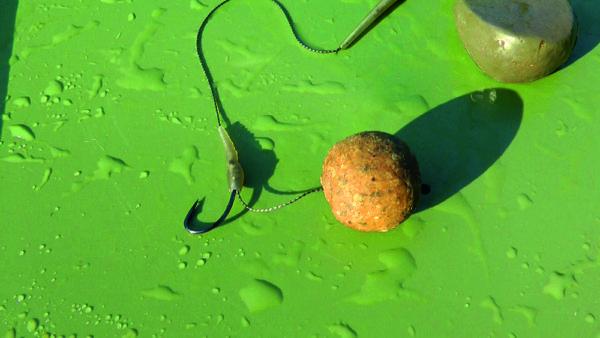 Použitá jednoduchá montáž na boilies. Jedná se o 20mm potápivou kuličku.