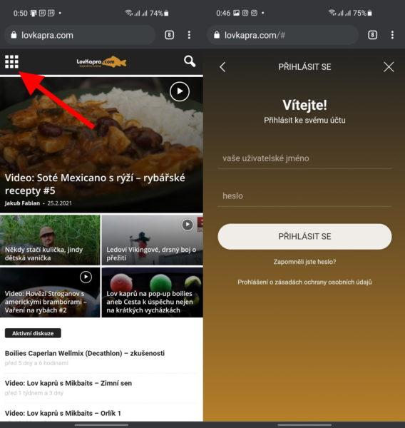 Přihlašování / nová registrace v mobilní verzi webu